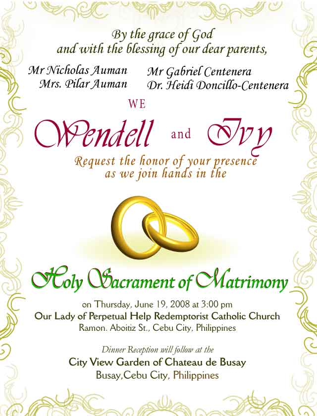 Wedding Invitation Letter, Design 2a - Rings 2 with Borders