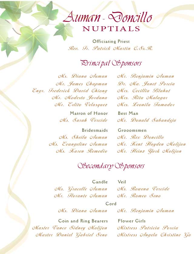 Invitation card designs wendell ivy wedding list of entourage members design 3 ivy leaves stopboris